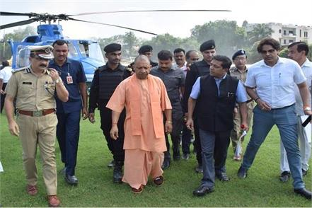 yogi did aerial survey of flood affected areas