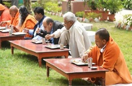 cm yogi broke the fast of ekadashi by passing under amla tree