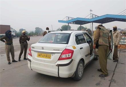 police force deployed at karman border in view of farmers union s delhi cooch