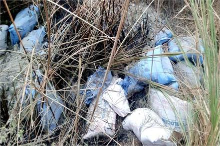 government cement thrown in ravine