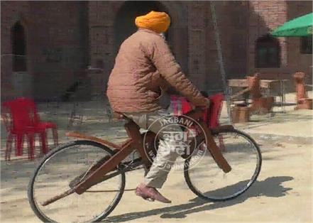 elder made wooden bicycle