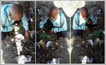 starvation by lockdown elderly people gathering food from garbage heap