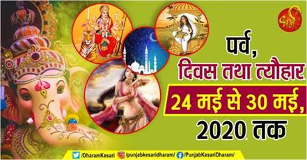 fast and festival from 24th may to 30th may 2020 in hindi