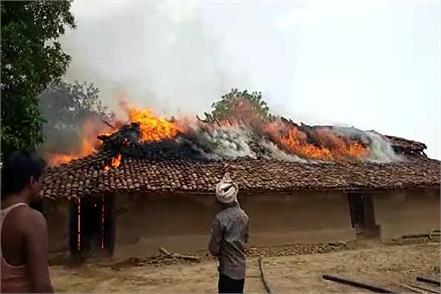 the house of a poor family burnt down in singraulli