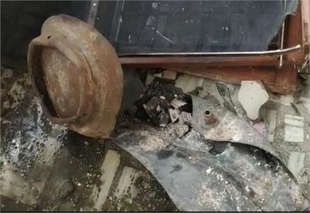 cylinder blast due to fire in fridge at midnight explosion destroyed house
