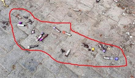 used blood sample test tubes thrown on road panic created in people