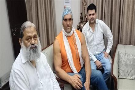 great khali reached to meet home minister anil vij