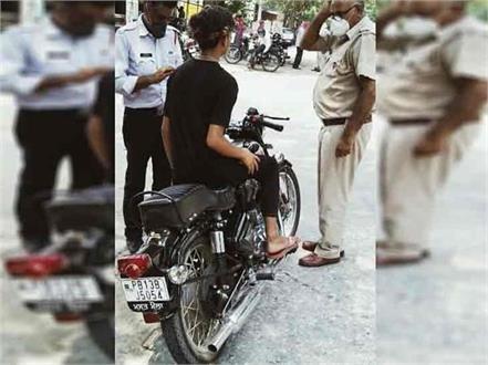kaithal police challan to royal enfield bikes