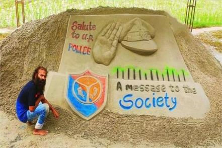sand artist salutes up police for vikas dubey s encounter