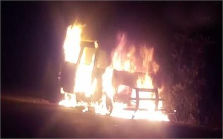 a car running on the road became a fireball