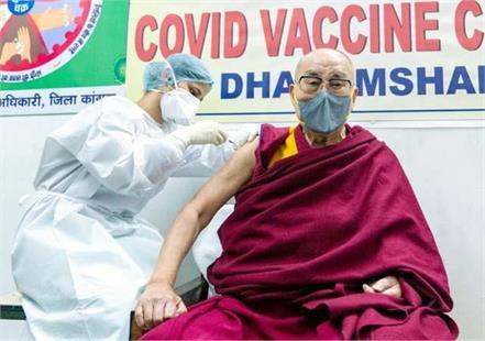 dalailama gets corona vaccine s first dose