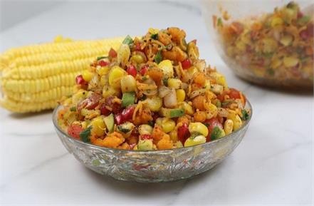 crispy chilli sweet corn and sweet corn bhel recipe