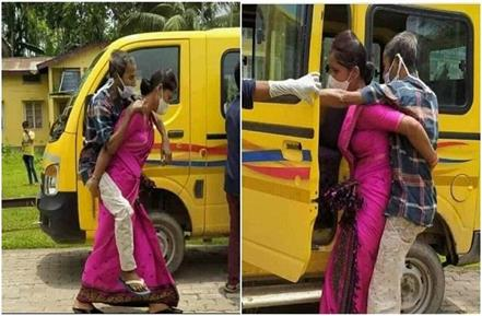 niharika das carrying covid positive father in law on back