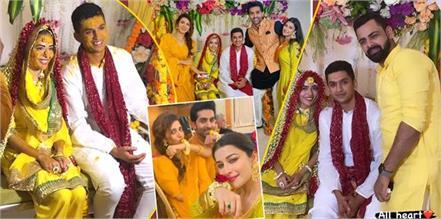 glimpse of divya drishti fame sana sayyad and imaad shamsi haldi ceremony