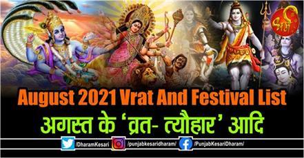 august 2021 vrat and festival list