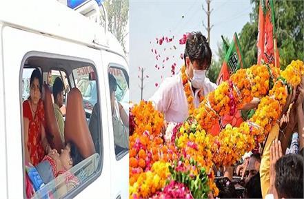 ambulance stuck in scindia s roadshow