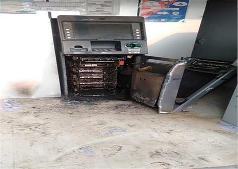 bank of india atm thieft cash moga