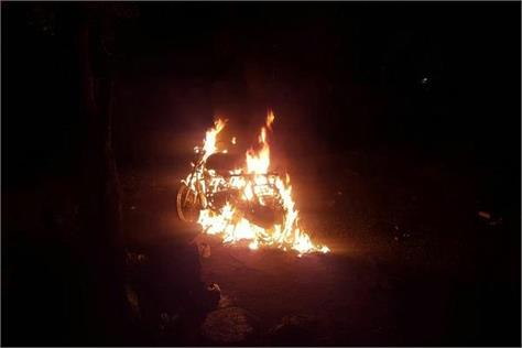 fire in the motorcycle