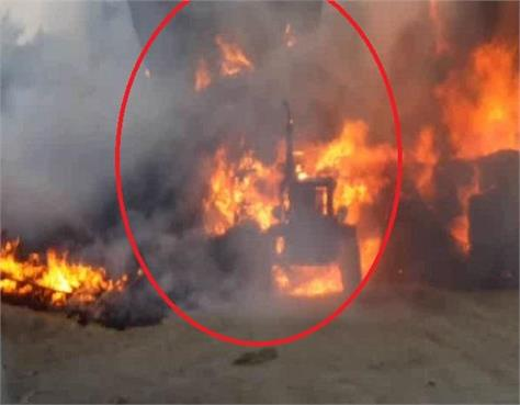 11 thousand kw electric wire dropped on tractor trolley set fire