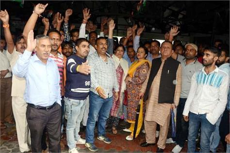 intuc election in congress office between dispute slogans against sukhu
