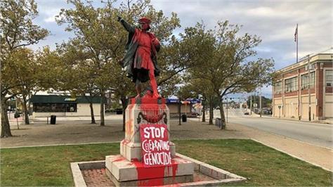 christopher columbus statues vandalized in california