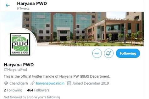 twitter handle of haryana pwd started