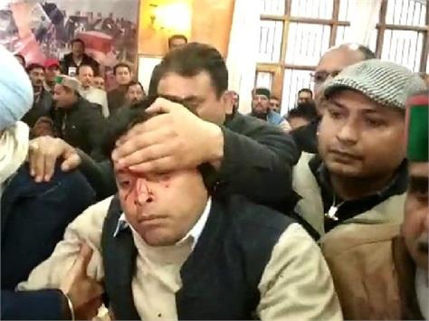 shimla congress office sukhu and virbhadra in supporters fight