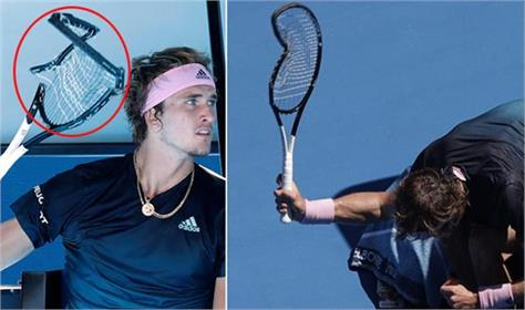 tennis player wrecked with defeat broke racket said get heart relaxed