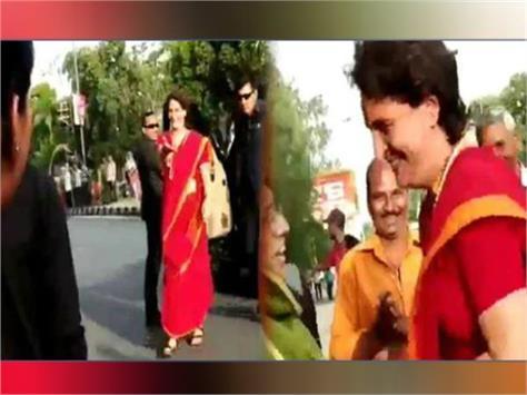 video of priyanka gandhi indore