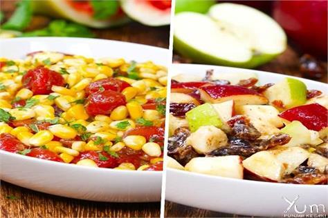 make summer watermelon corn salad and apples bananas date salads