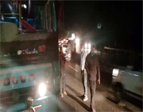 bus accident in damtal death of bike rider