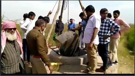 police and villagers were surprised to see the atm machine floating in the well