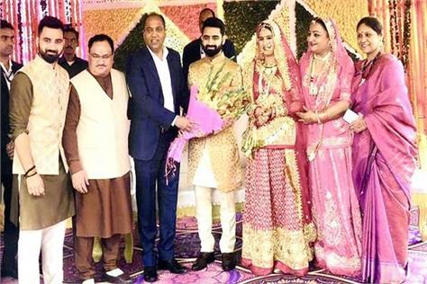 himachal cm jairam thakur arrives to bless newly married