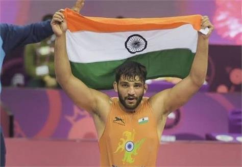 sunil won gold medal in asian wrestling championship