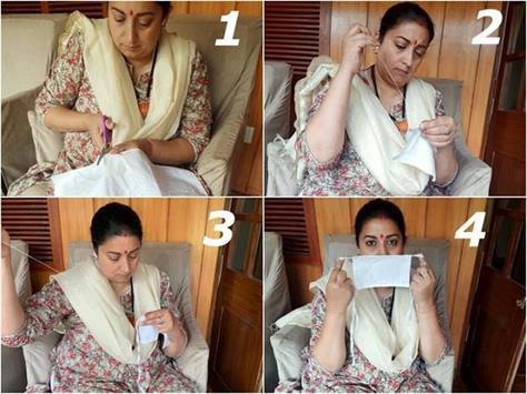 smriti irani made a mask while sitting at home