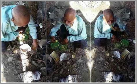 starvation by lockdown elderly people gathering food from garbage heap