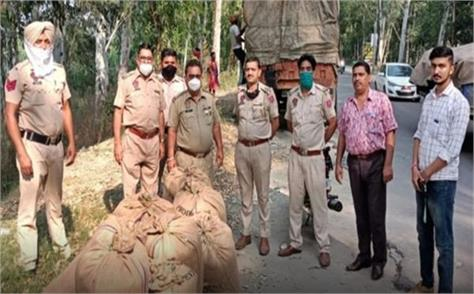 truck driver overcame with 312 kg sawdust in cardboard from jammu