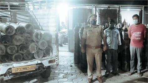 2 people arrested with several dozen oxygen cylinders in lucknow