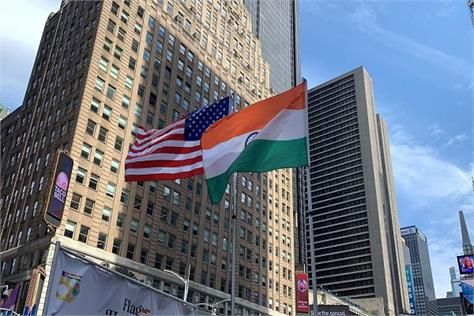 independence day first tricolor hoisted at new york s historic times square
